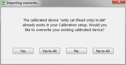 overwrite device unity cal