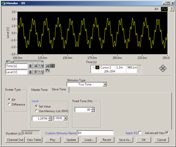 Intermodulation Two-Tone Distortion Stimulus in SoundCheck