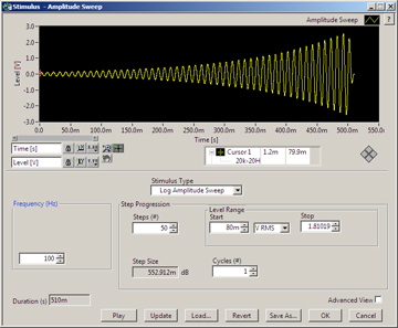 Log Amplitude Sweep Stimulus in SoundCheck